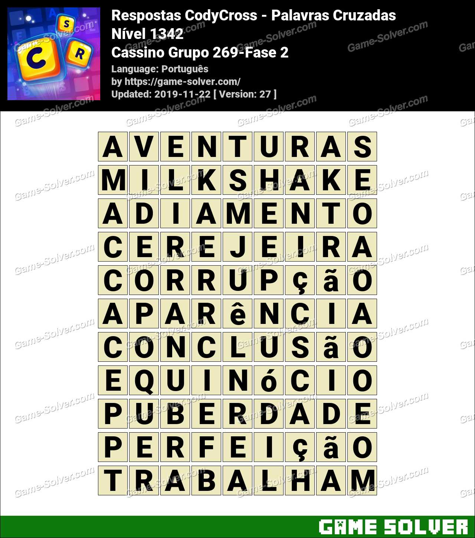 Respostas CodyCross Cassino Grupo 269-Fase 2