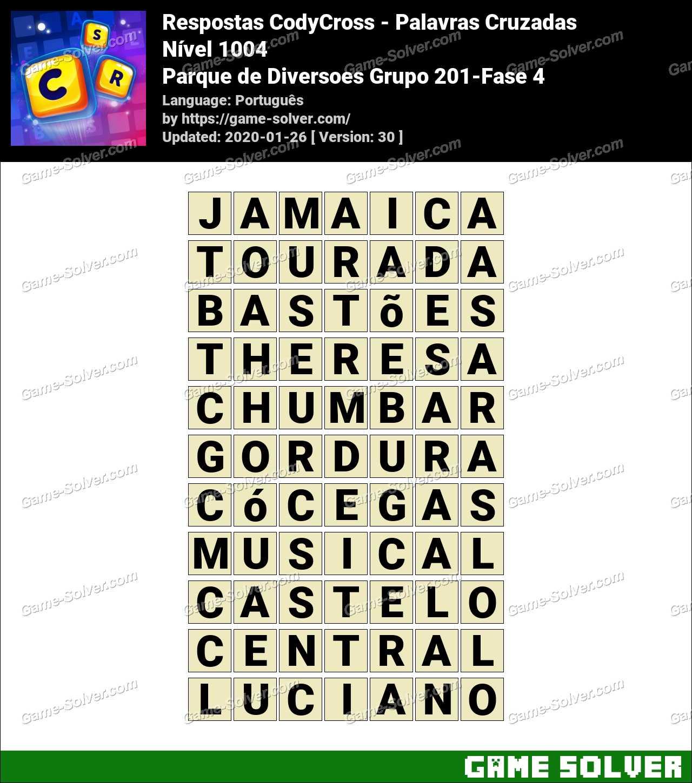 Respostas CodyCross Parque de Diversoes Grupo 201-Fase 4