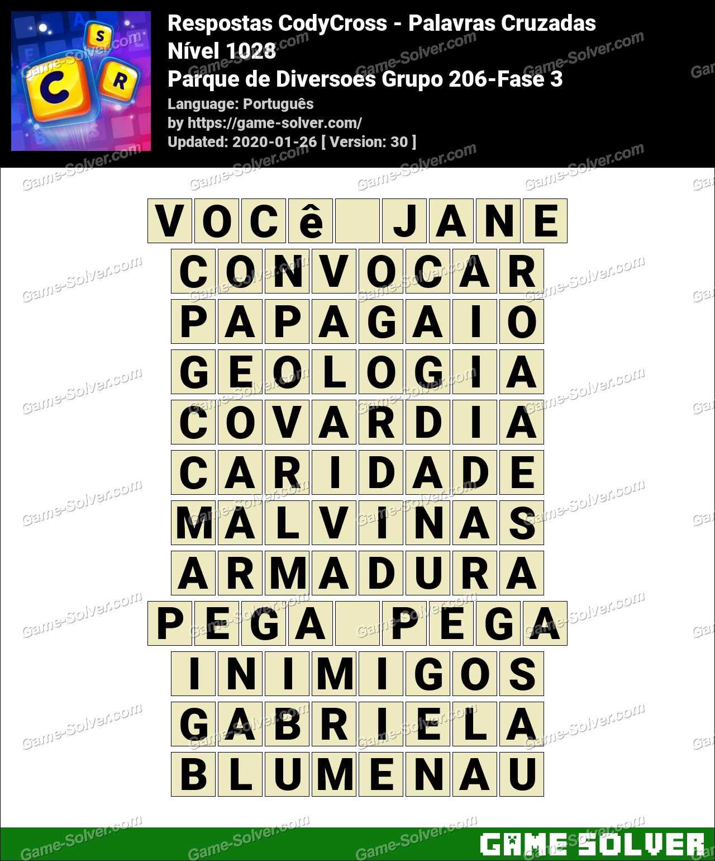 Respostas CodyCross Parque de Diversoes Grupo 206-Fase 3