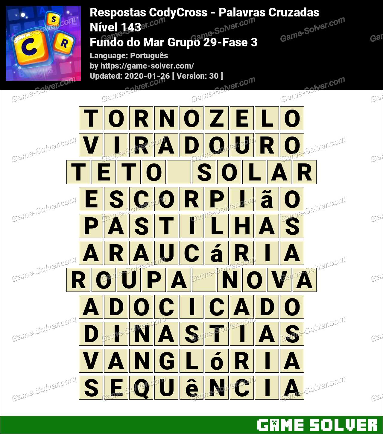 Respostas CodyCross Fundo do Mar Grupo 29-Fase 3