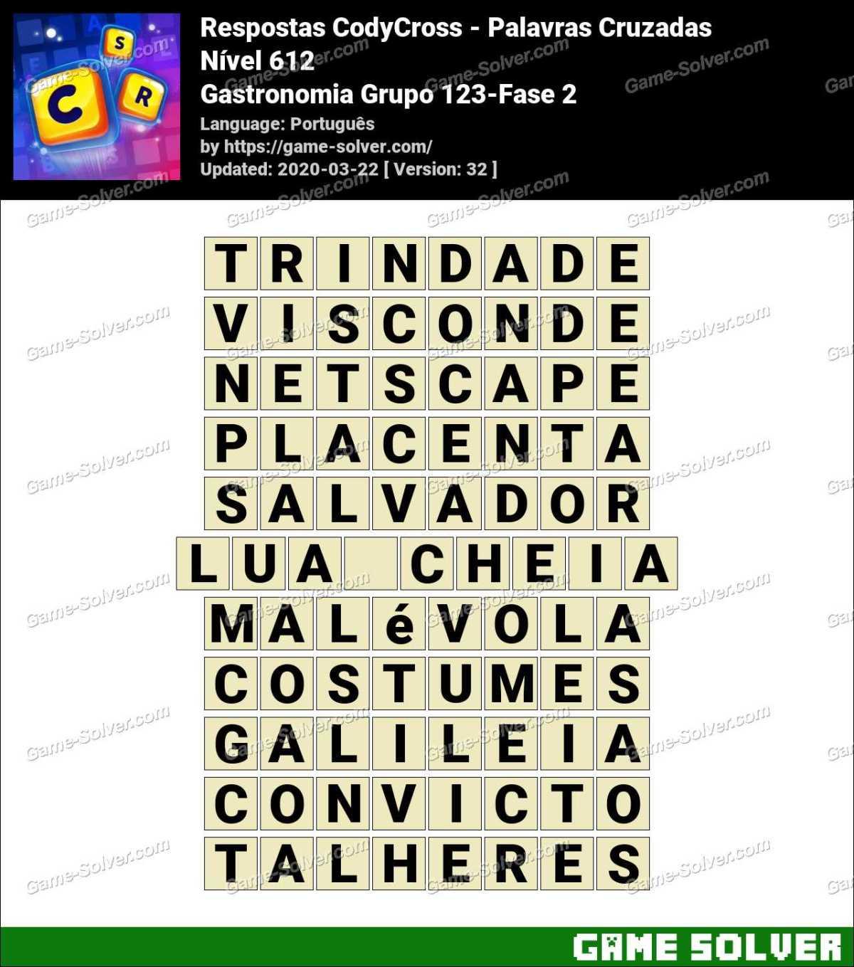 Respostas CodyCross Gastronomia Grupo 123-Fase 2
