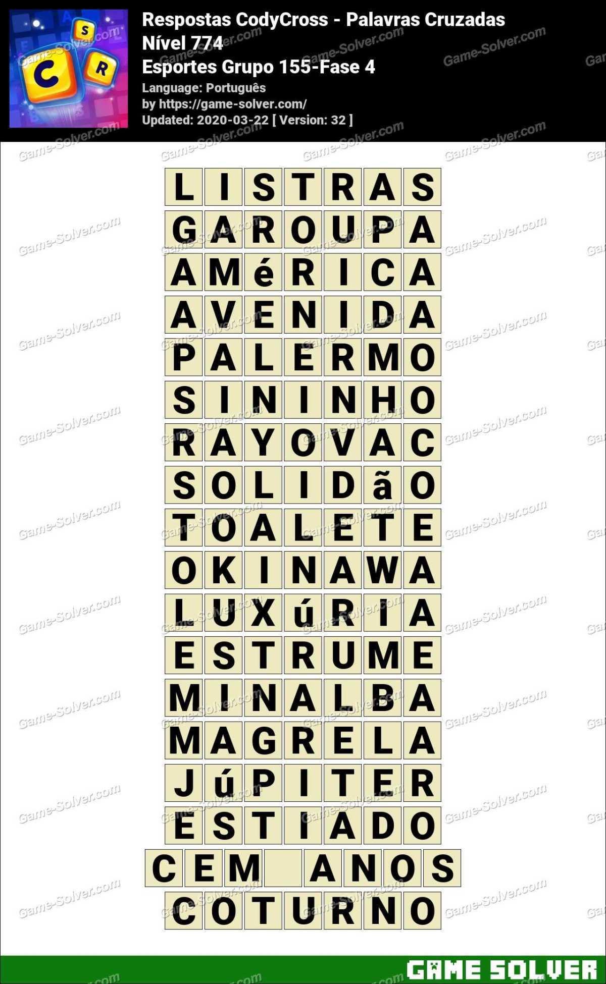 Respostas CodyCross Esportes Grupo 155-Fase 4