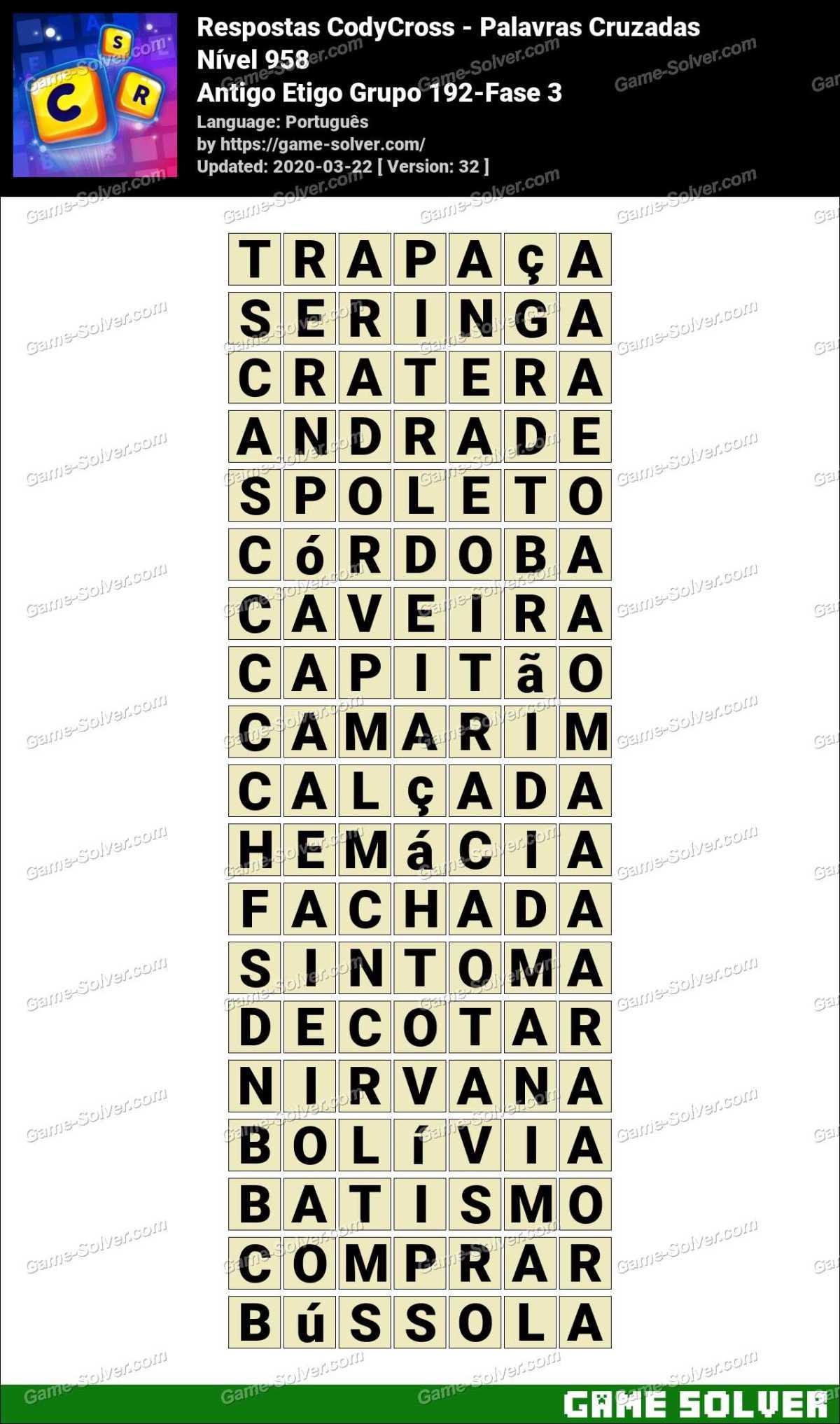 Respostas CodyCross Antigo Etigo Grupo 192-Fase 3