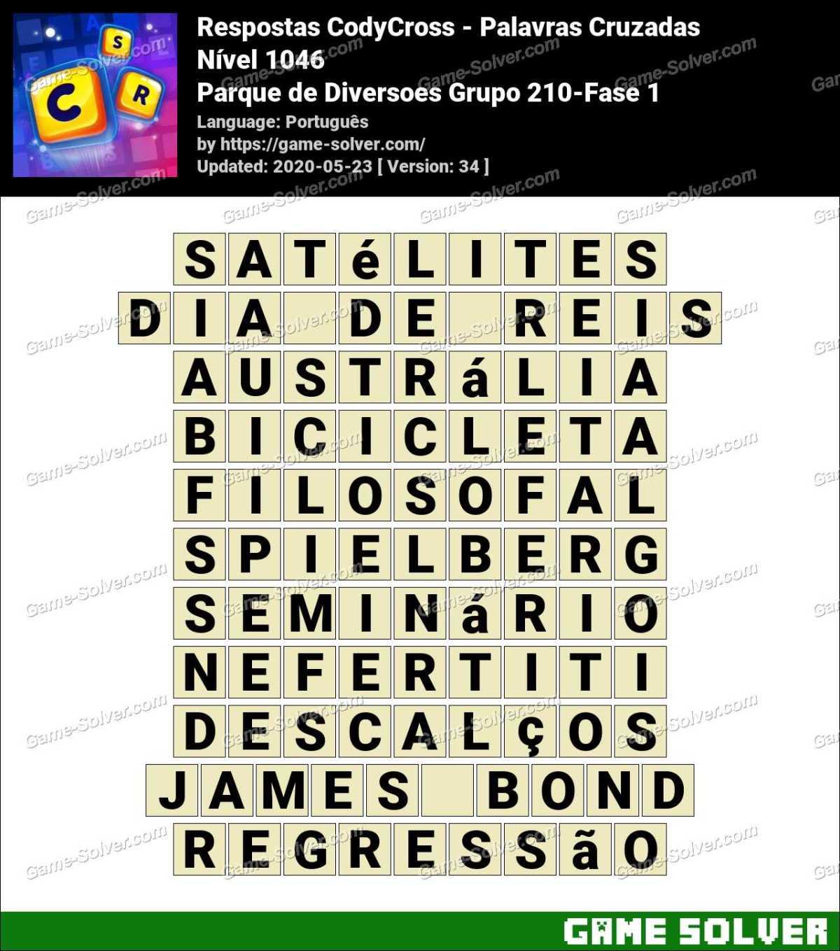 Respostas CodyCross Parque de Diversoes Grupo 210-Fase 1