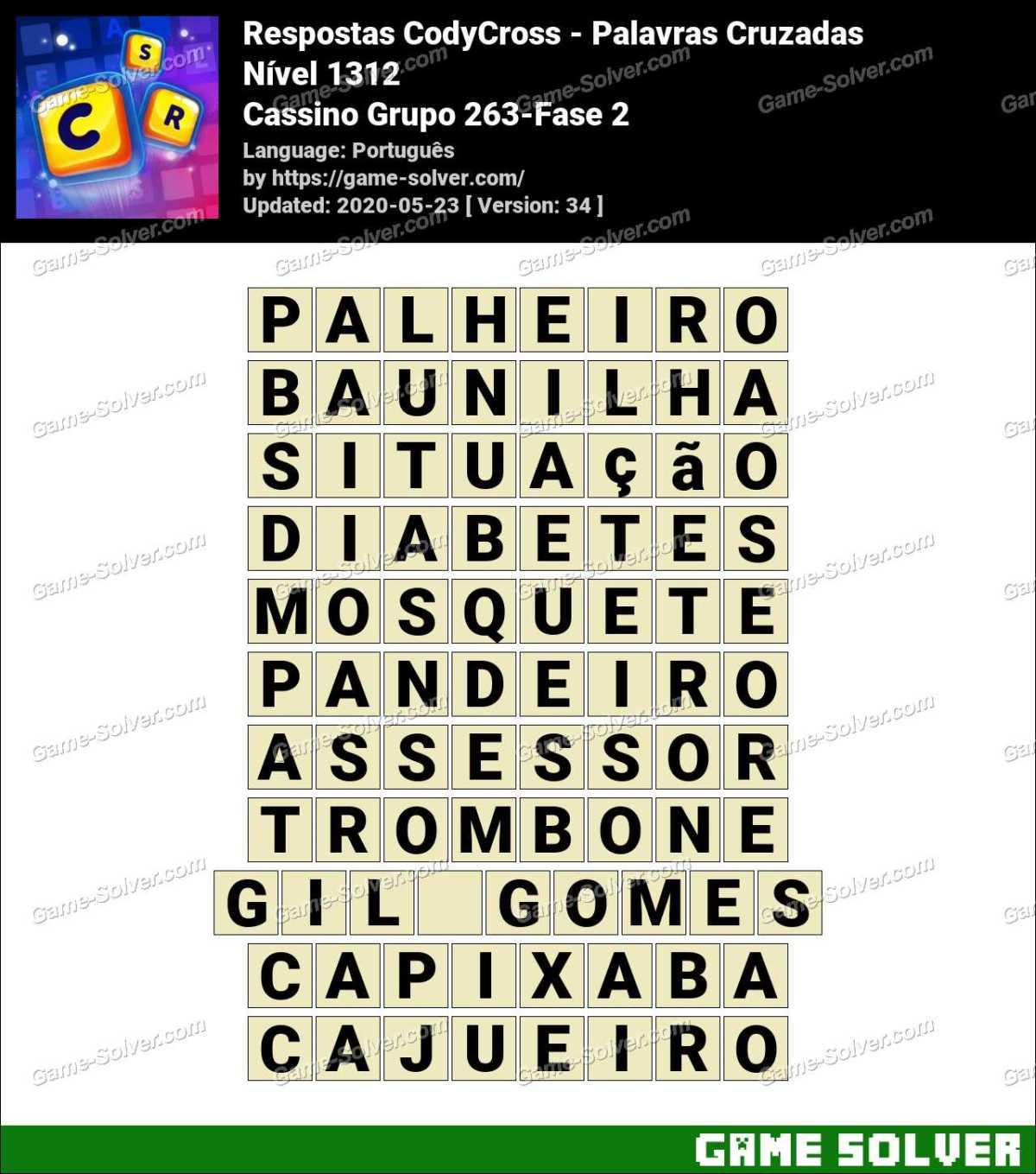 Respostas CodyCross Cassino Grupo 263-Fase 2