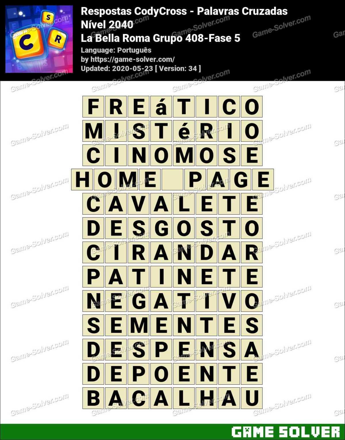 Respostas CodyCross La Bella Roma Grupo 408-Fase 5