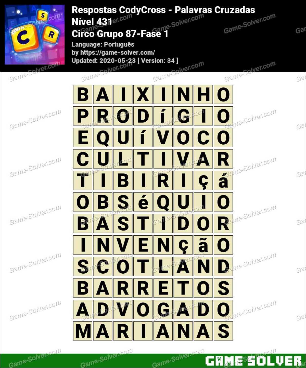 Respostas CodyCross Circo Grupo 87-Fase 1