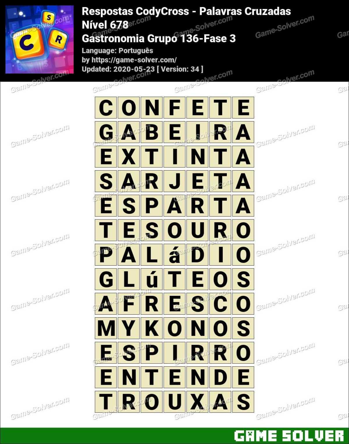 Respostas CodyCross Gastronomia Grupo 136-Fase 3