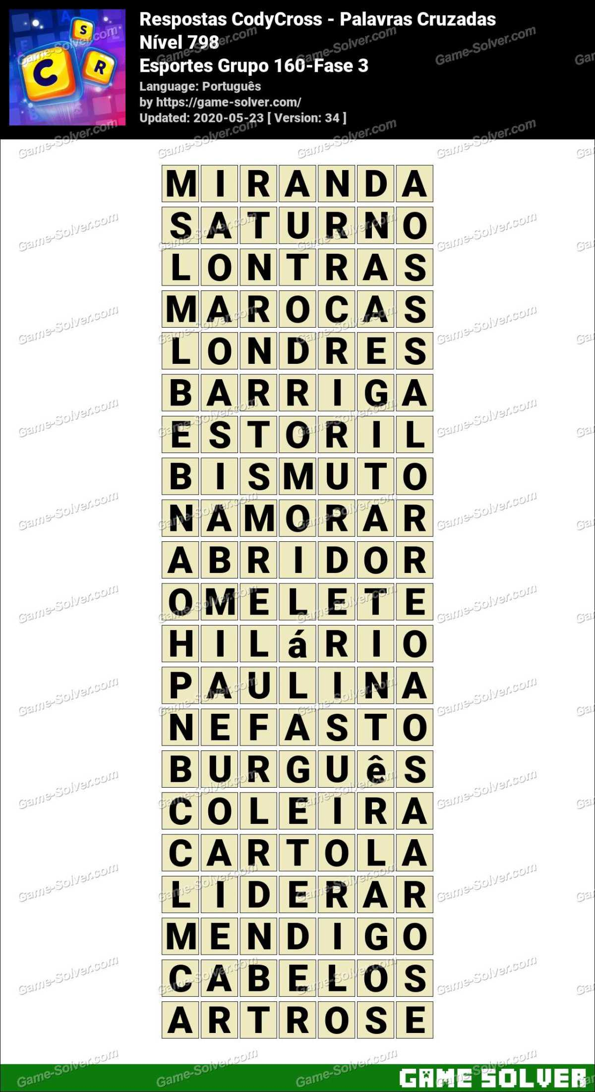 Respostas CodyCross Esportes Grupo 160-Fase 3