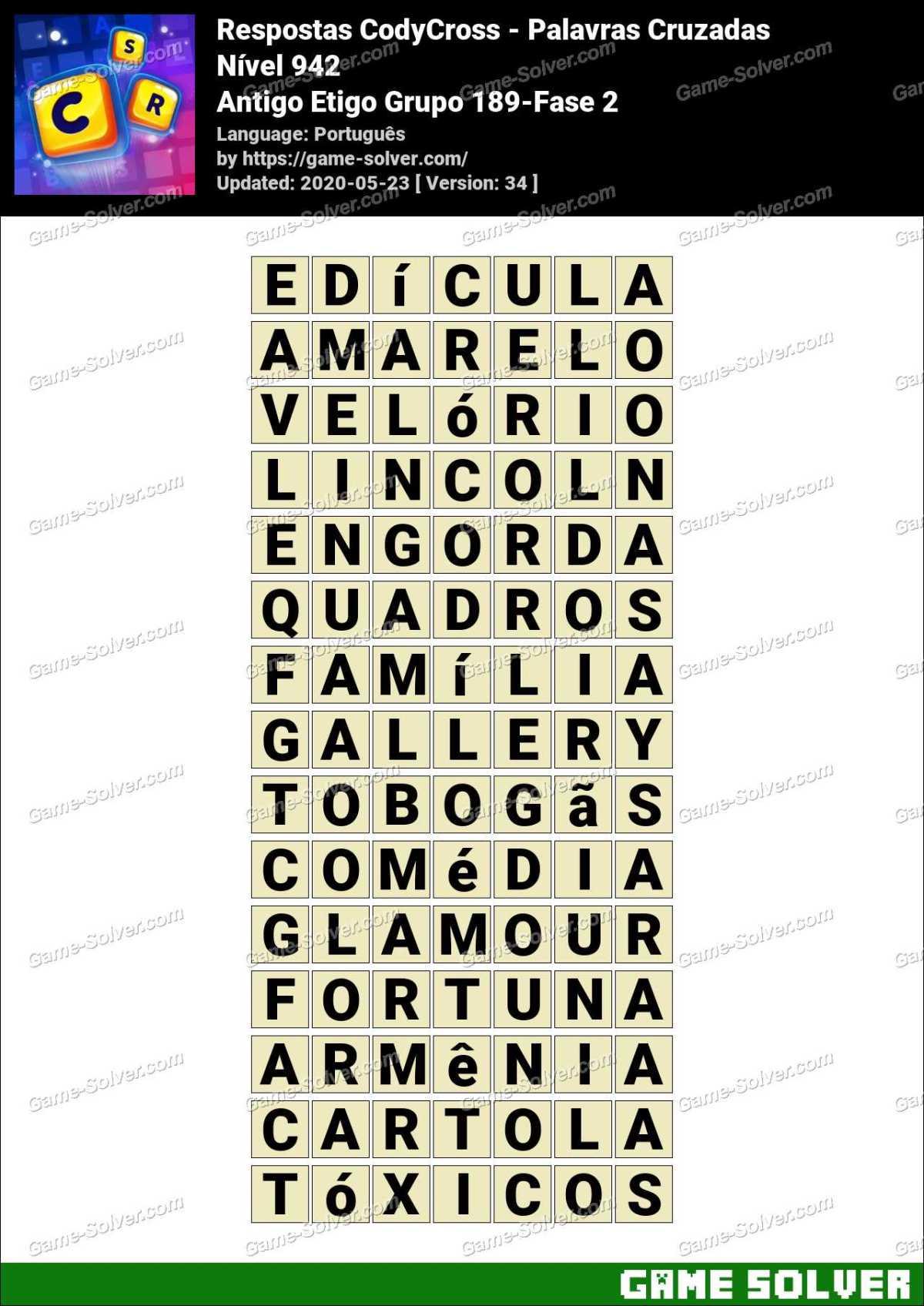 Respostas CodyCross Antigo Etigo Grupo 189-Fase 2