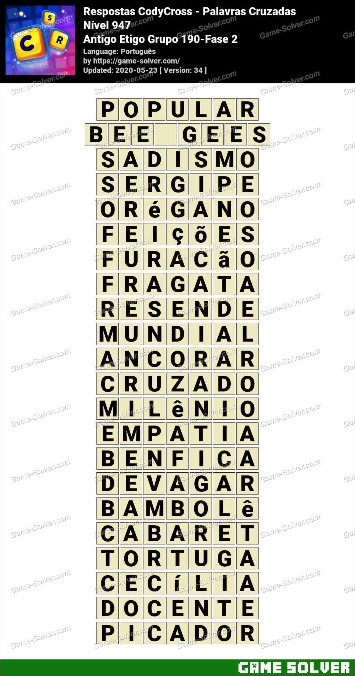 Respostas CodyCross Antigo Etigo Grupo 190-Fase 2