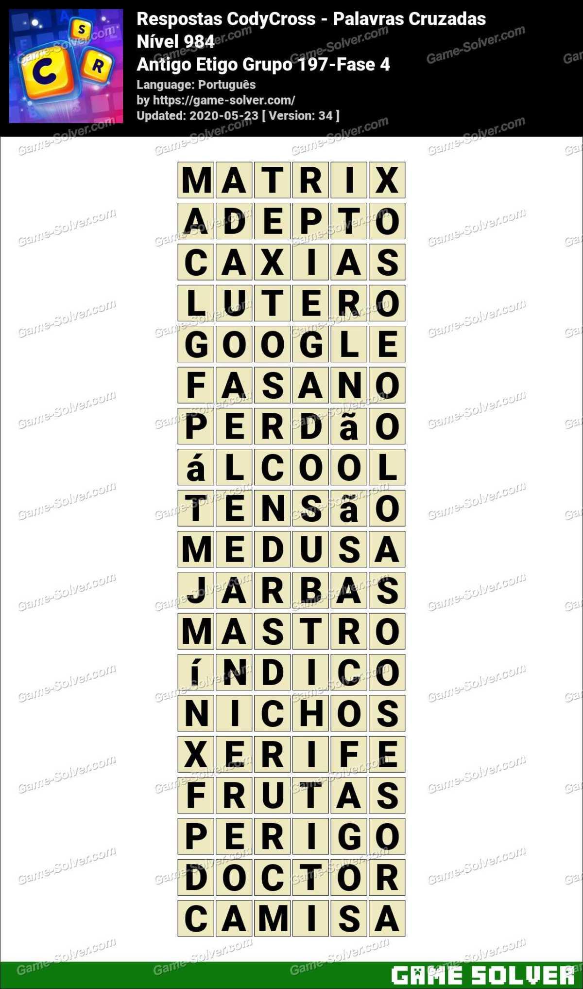 Respostas CodyCross Antigo Etigo Grupo 197-Fase 4