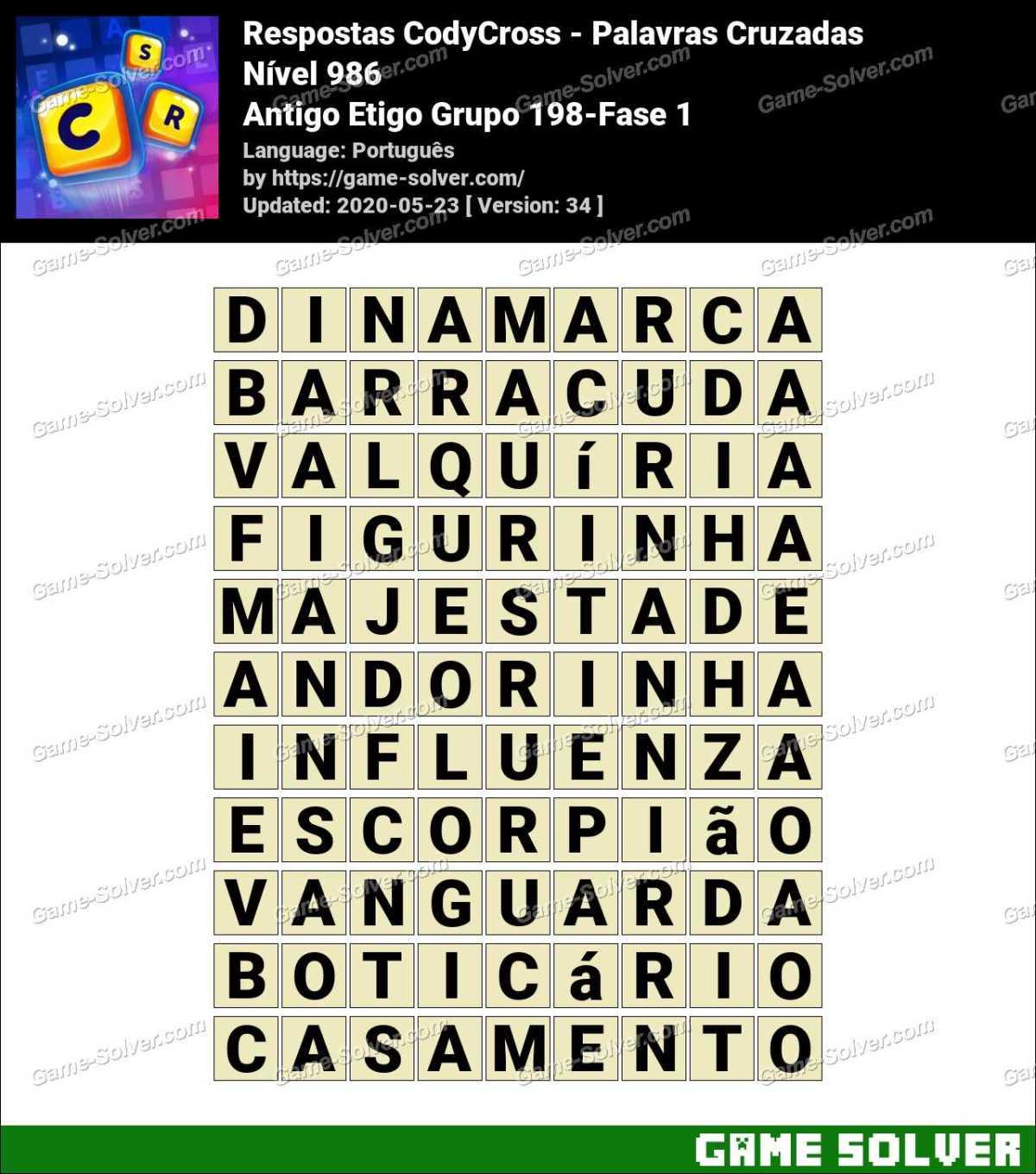 Respostas CodyCross Antigo Etigo Grupo 198-Fase 1