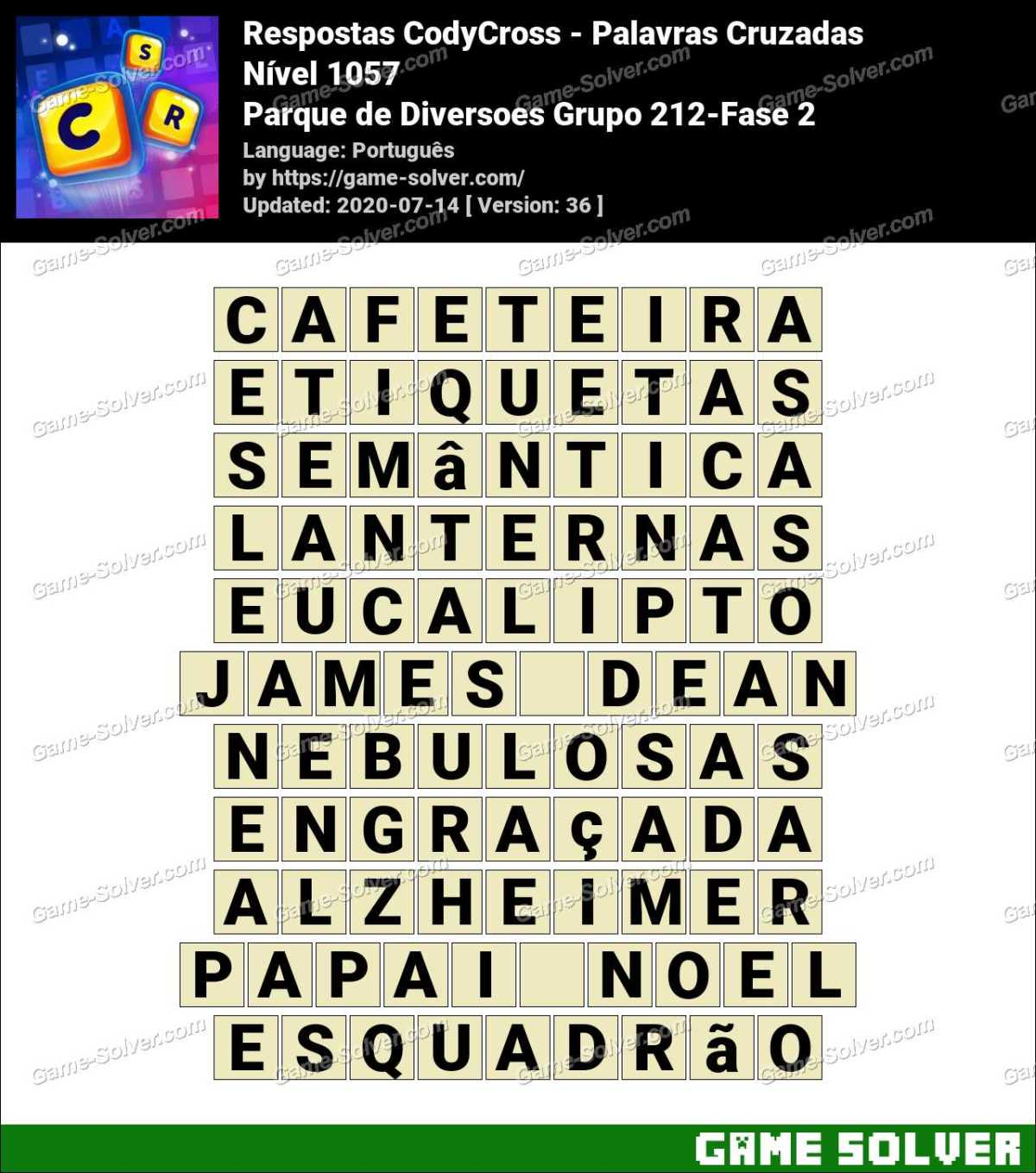 Respostas CodyCross Parque de Diversoes Grupo 212-Fase 2
