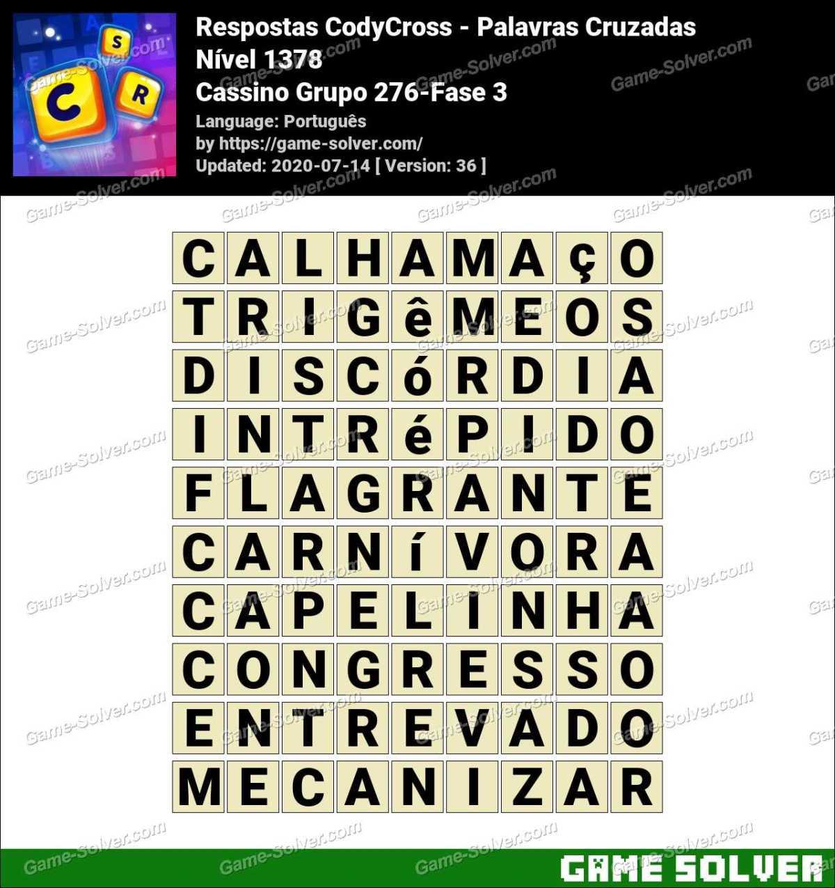Respostas CodyCross Cassino Grupo 276-Fase 3