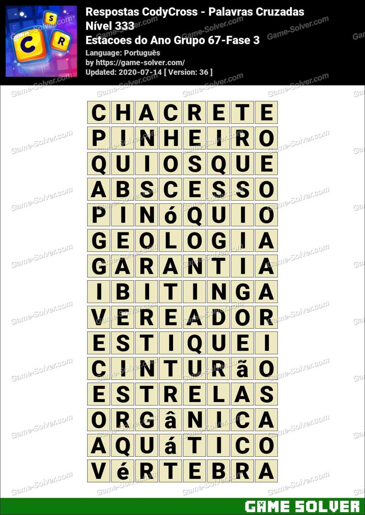 Respostas CodyCross Estacoes do Ano Grupo 67-Fase 3