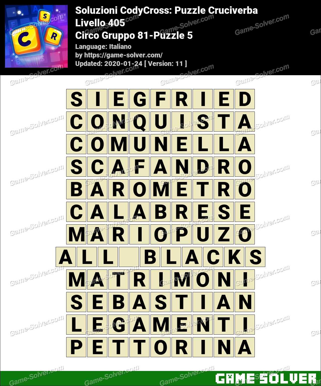 Soluzioni CodyCross Circo Gruppo 81-Puzzle 5