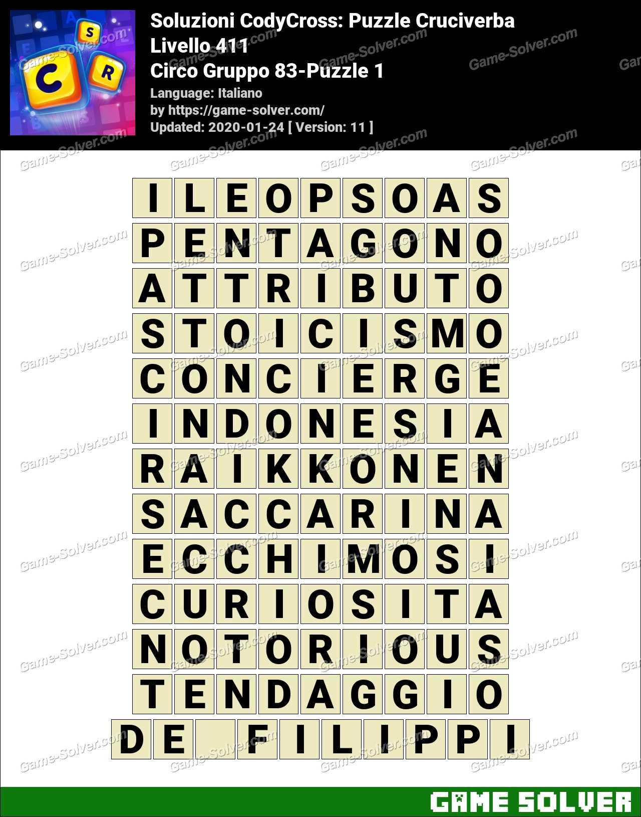 Soluzioni CodyCross Circo Gruppo 83-Puzzle 1