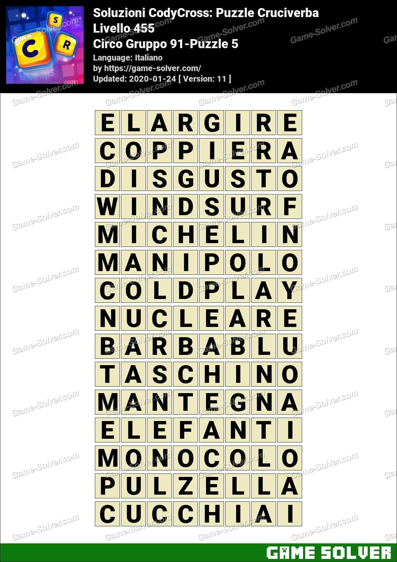 Soluzioni CodyCross Circo Gruppo 91-Puzzle 5