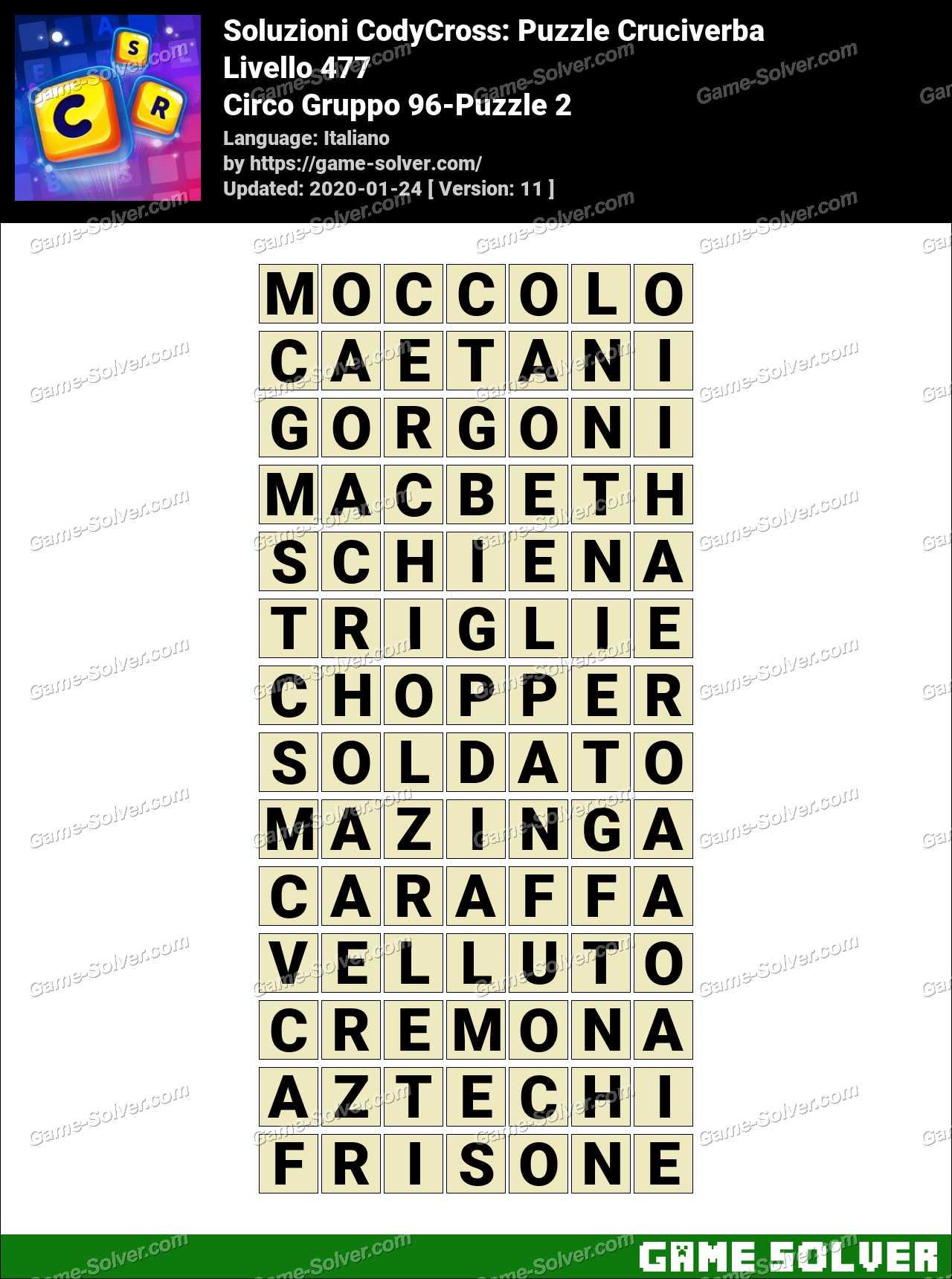 Soluzioni CodyCross Circo Gruppo 96-Puzzle 2