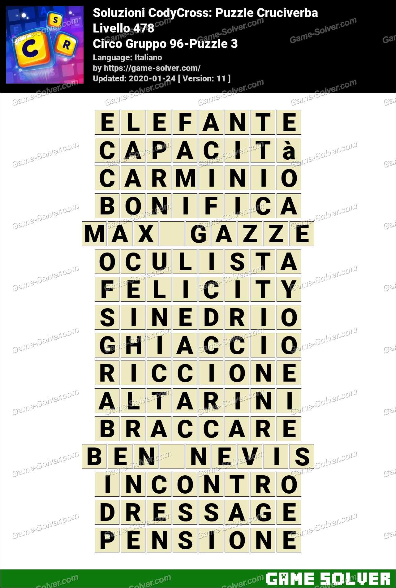 Soluzioni CodyCross Circo Gruppo 96-Puzzle 3