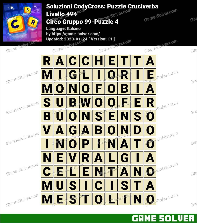 Soluzioni CodyCross Circo Gruppo 99-Puzzle 4