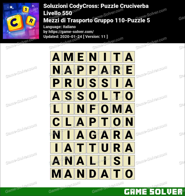 Soluzioni CodyCross Mezzi di Trasporto Gruppo 110-Puzzle 5
