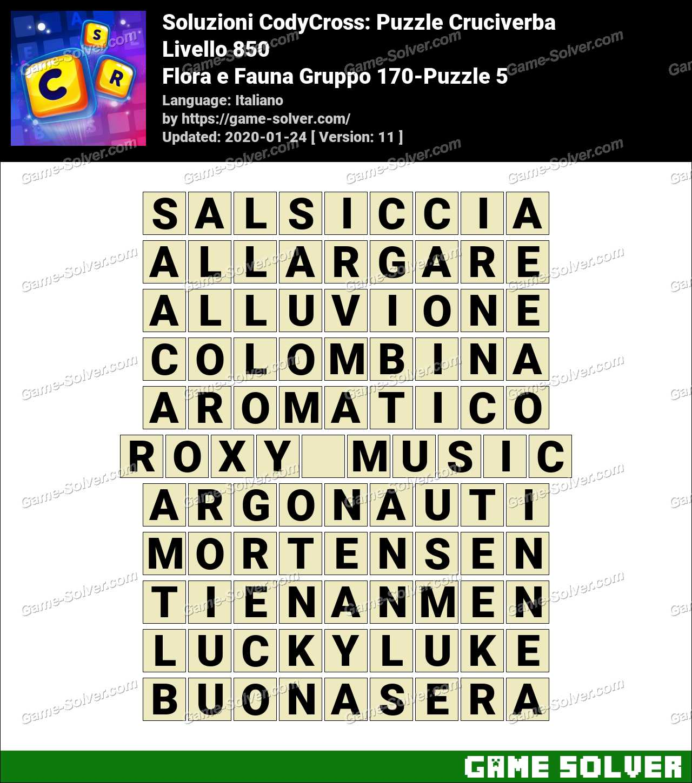 Soluzioni CodyCross Flora e Fauna Gruppo 170-Puzzle 5