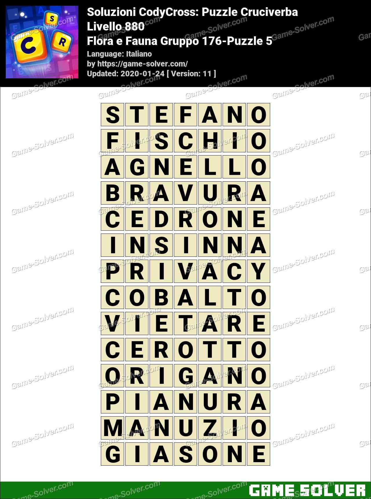Soluzioni CodyCross Flora e Fauna Gruppo 176-Puzzle 5