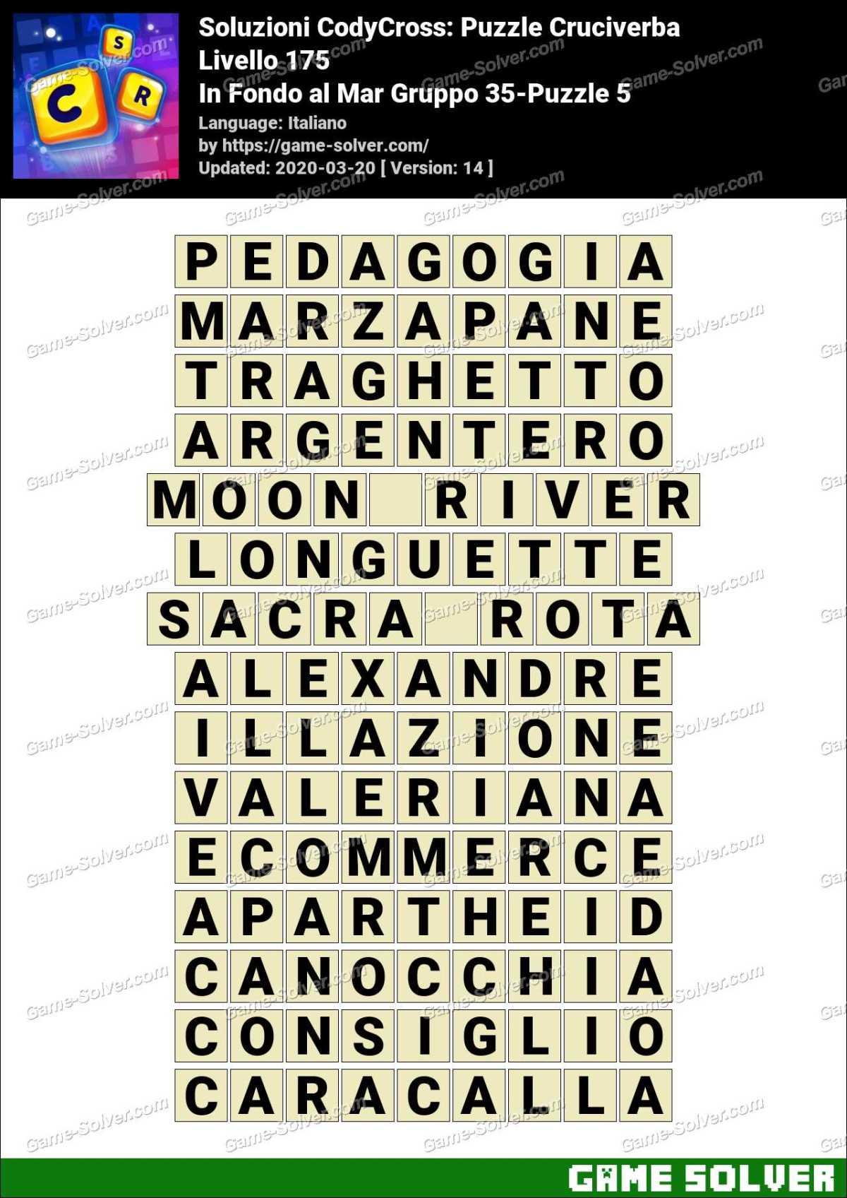 Soluzioni CodyCross In Fondo al Mar Gruppo 35-Puzzle 5
