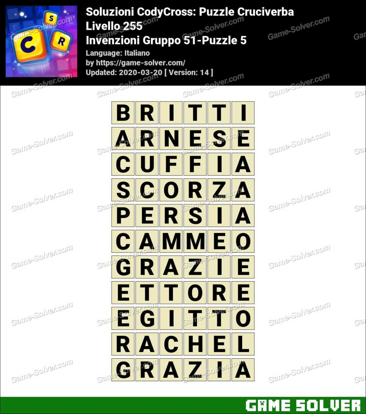 Soluzioni CodyCross Invenzioni Gruppo 51-Puzzle 5