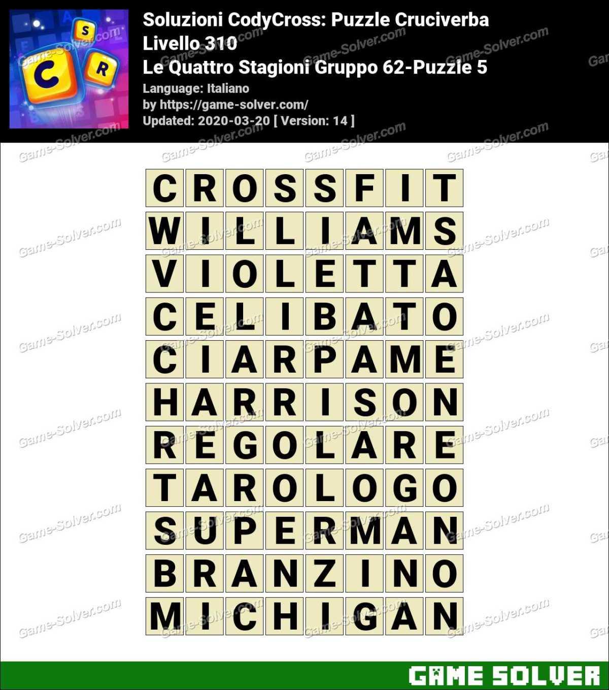 Soluzioni CodyCross Le Quattro Stagioni Gruppo 62-Puzzle 5