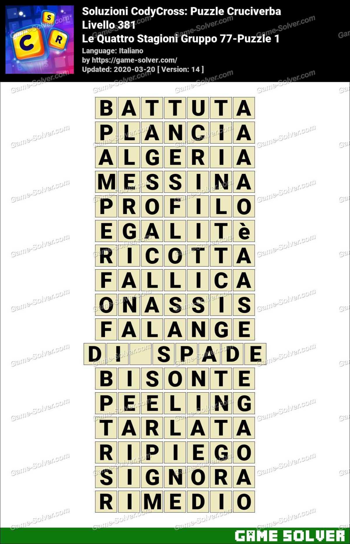 Soluzioni CodyCross Le Quattro Stagioni Gruppo 77-Puzzle 1