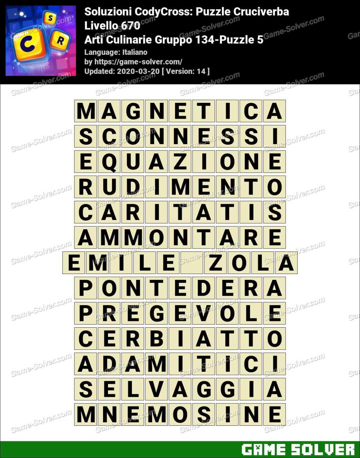 Soluzioni CodyCross Arti Culinarie Gruppo 134-Puzzle 5