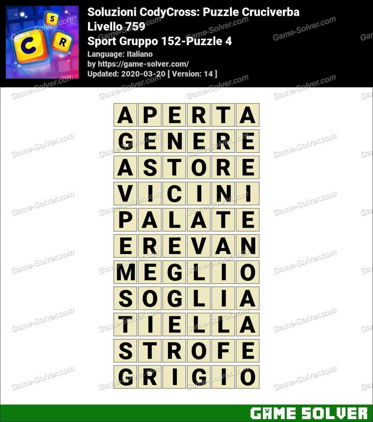 Soluzioni CodyCross Sport Gruppo 152-Puzzle 4