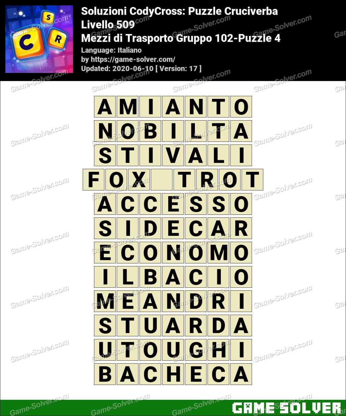 Soluzioni CodyCross Mezzi di Trasporto Gruppo 102-Puzzle 4