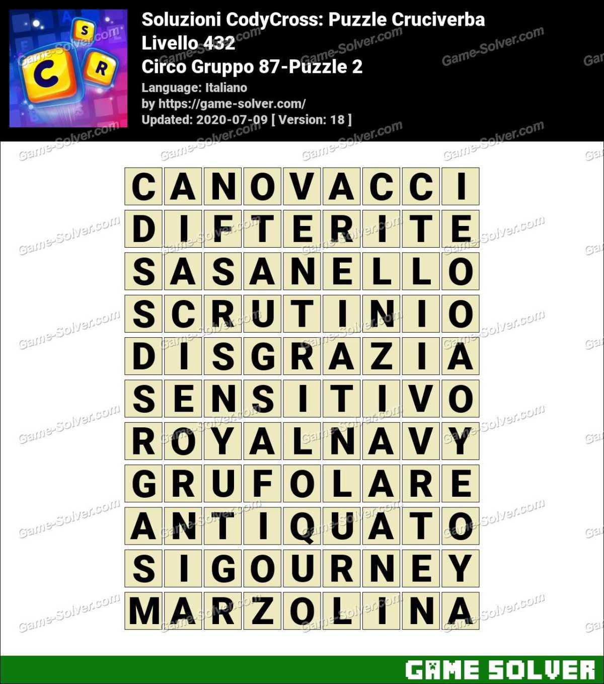 Soluzioni CodyCross Circo Gruppo 87-Puzzle 2