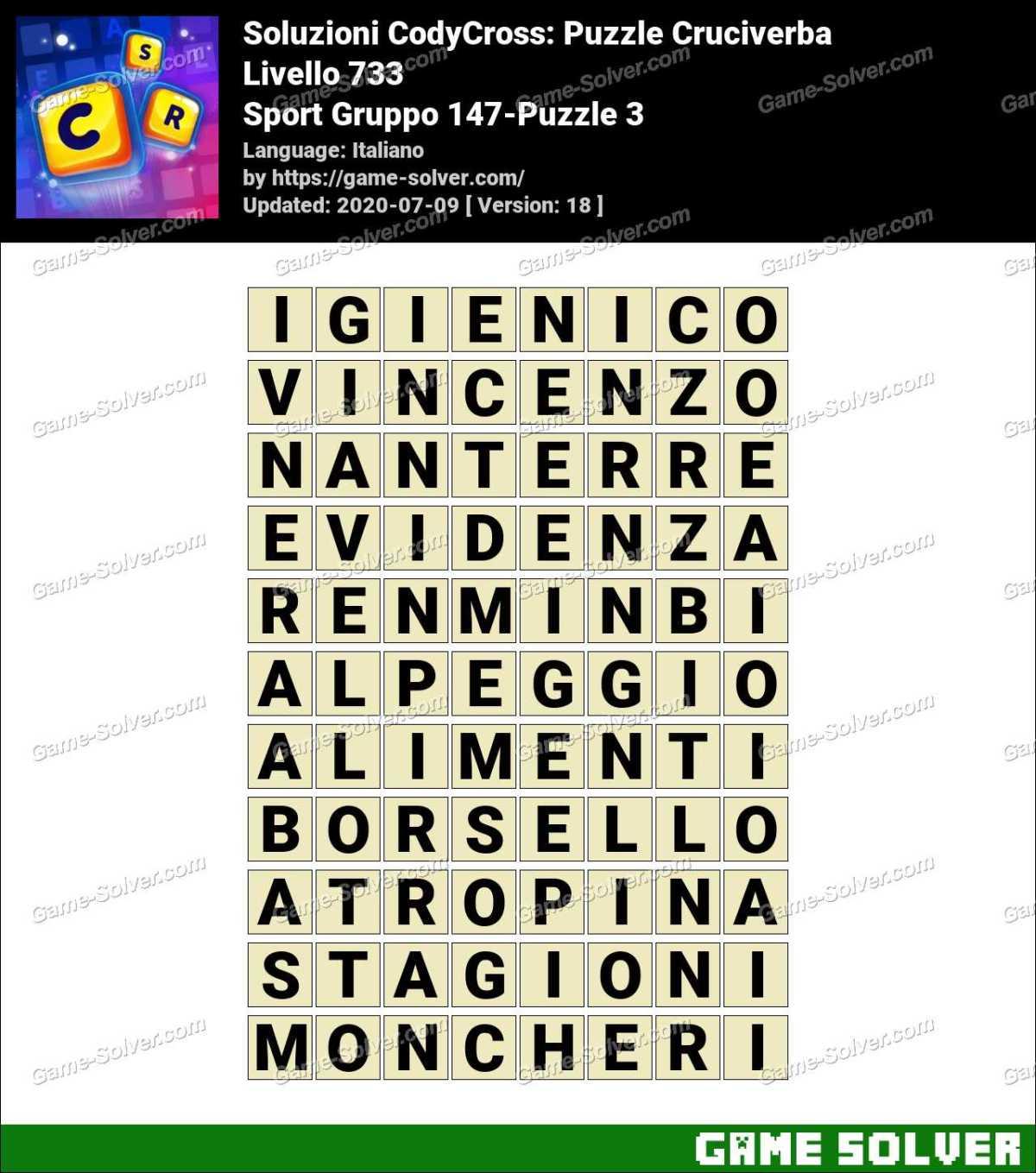 Soluzioni CodyCross Sport Gruppo 147-Puzzle 3