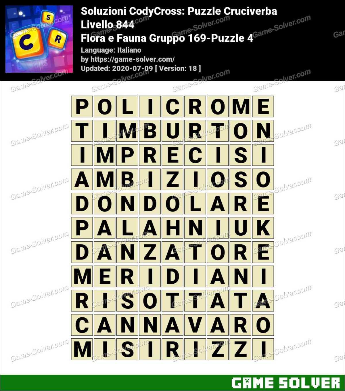 Soluzioni CodyCross Flora e Fauna Gruppo 169-Puzzle 4