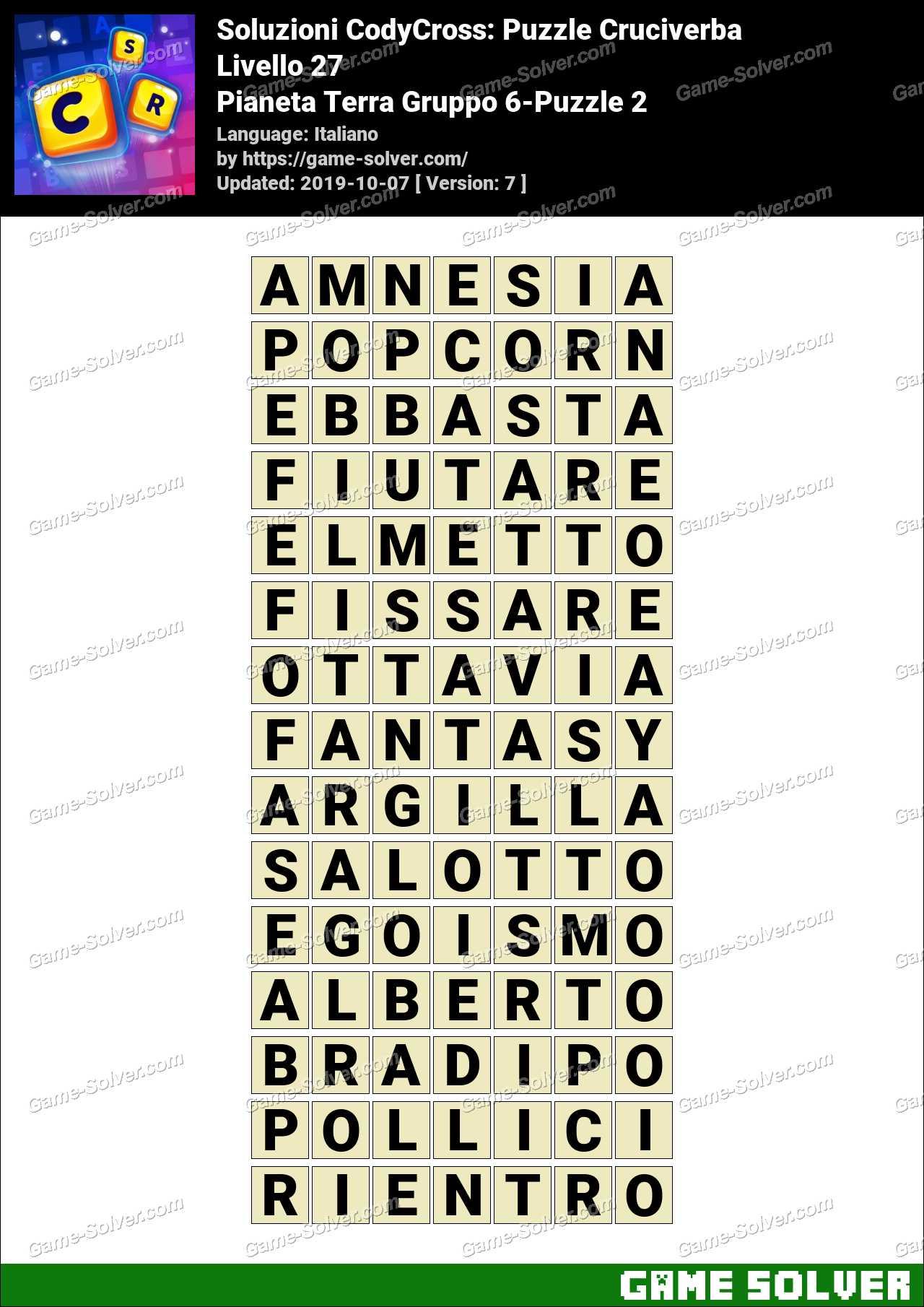 Soluzioni CodyCross Pianeta Terra Gruppo 6-Puzzle 2
