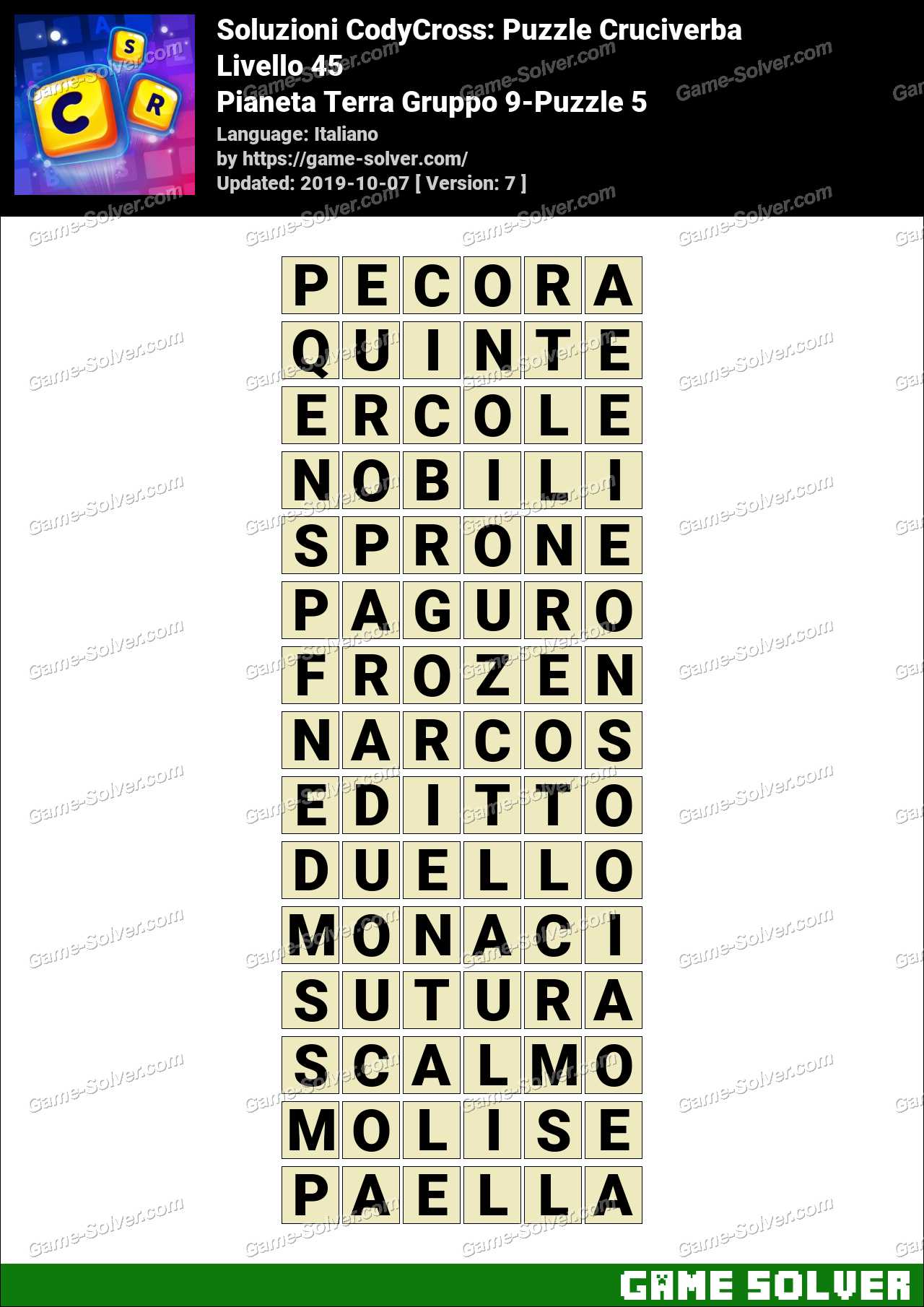 Soluzioni CodyCross Pianeta Terra Gruppo 9-Puzzle 5