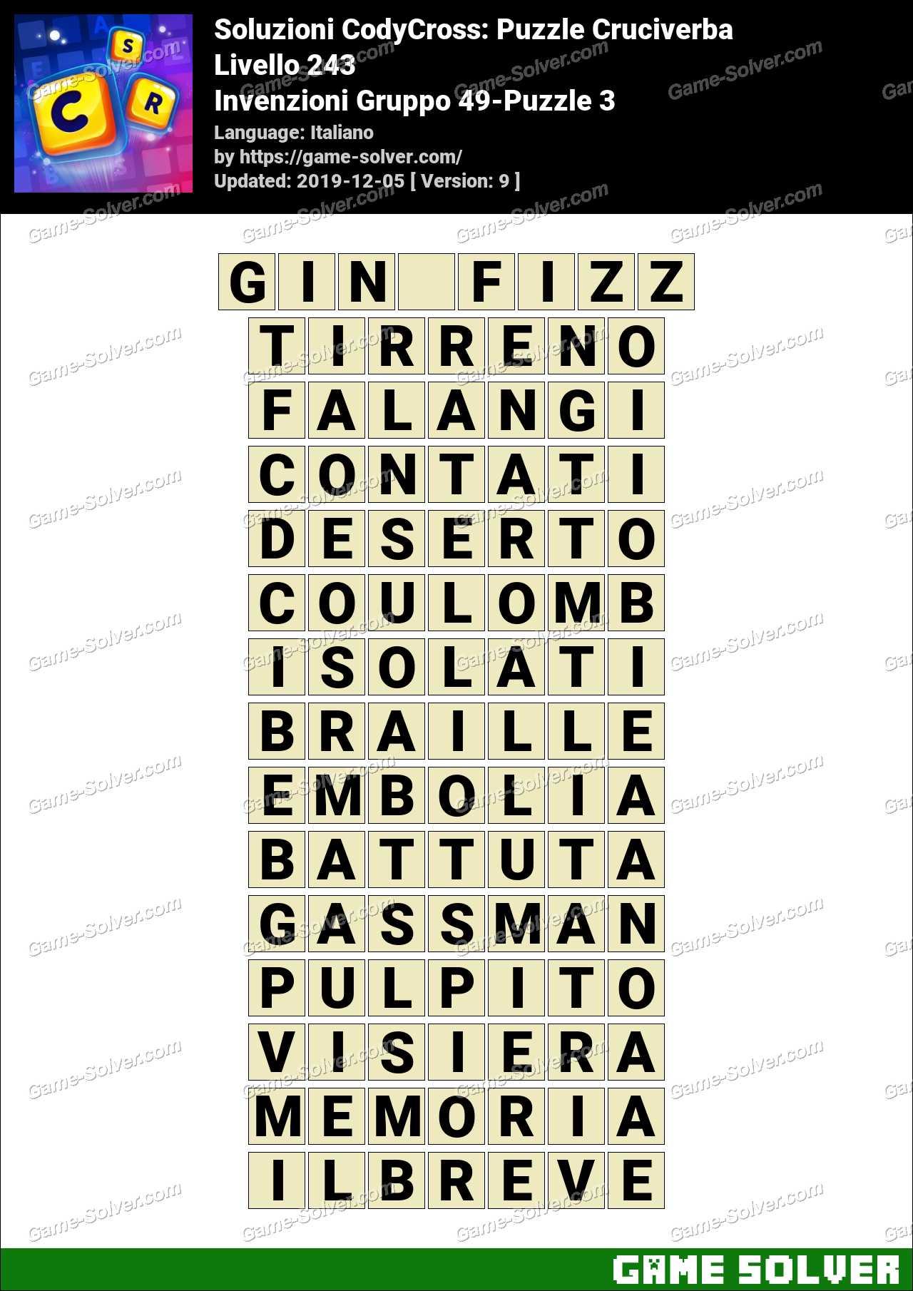 Soluzioni CodyCross Invenzioni Gruppo 49-Puzzle 3