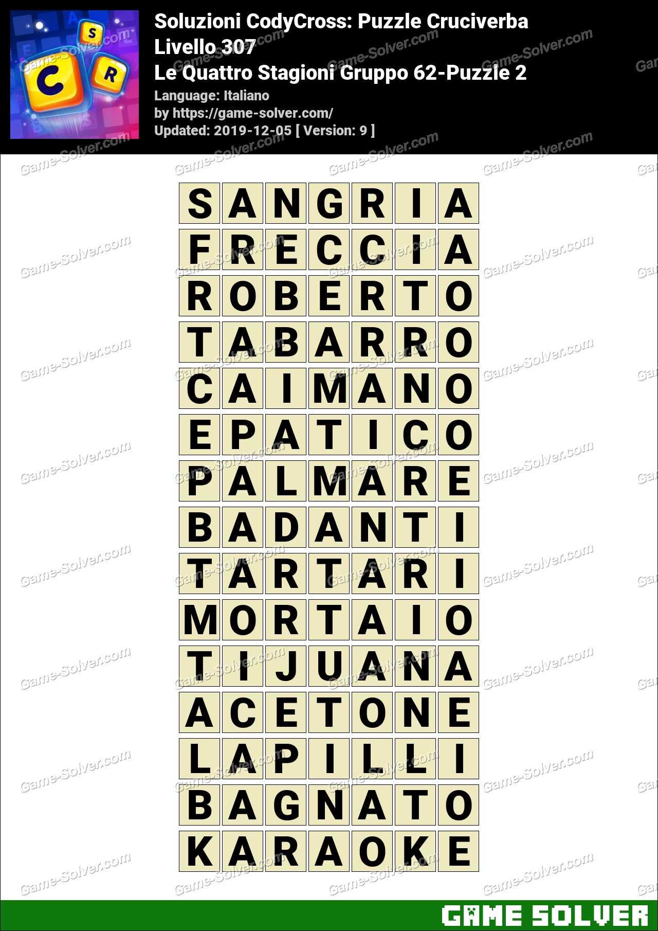 Soluzioni CodyCross Le Quattro Stagioni Gruppo 62-Puzzle 2