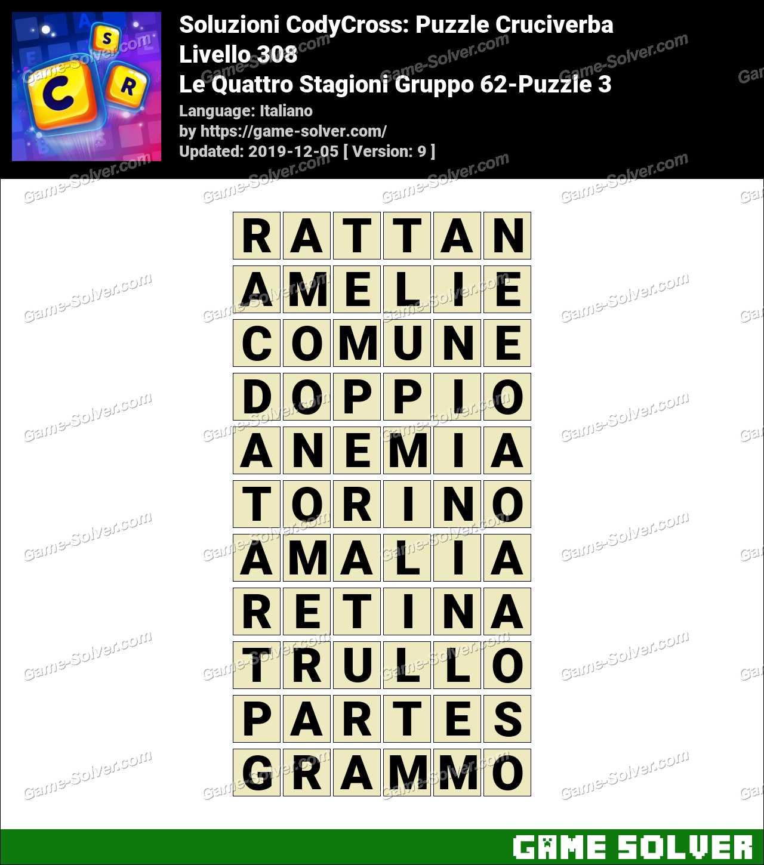 Soluzioni CodyCross Le Quattro Stagioni Gruppo 62-Puzzle 3
