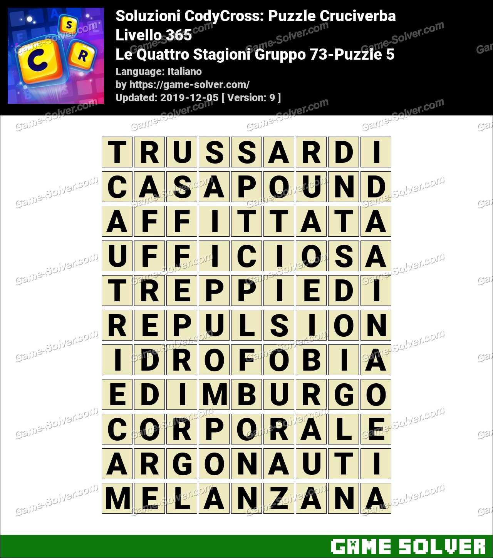 Soluzioni CodyCross Le Quattro Stagioni Gruppo 73-Puzzle 5