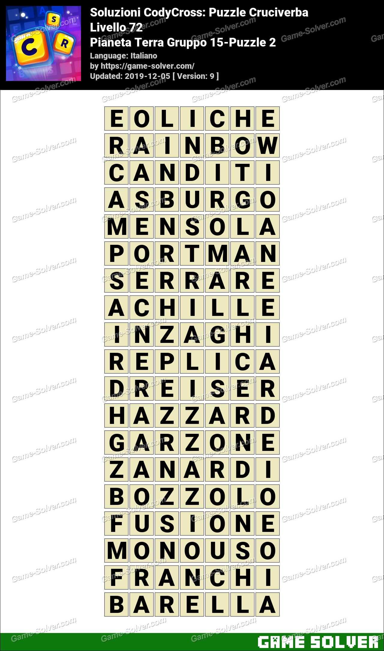 Soluzioni CodyCross Pianeta Terra Gruppo 15-Puzzle 2