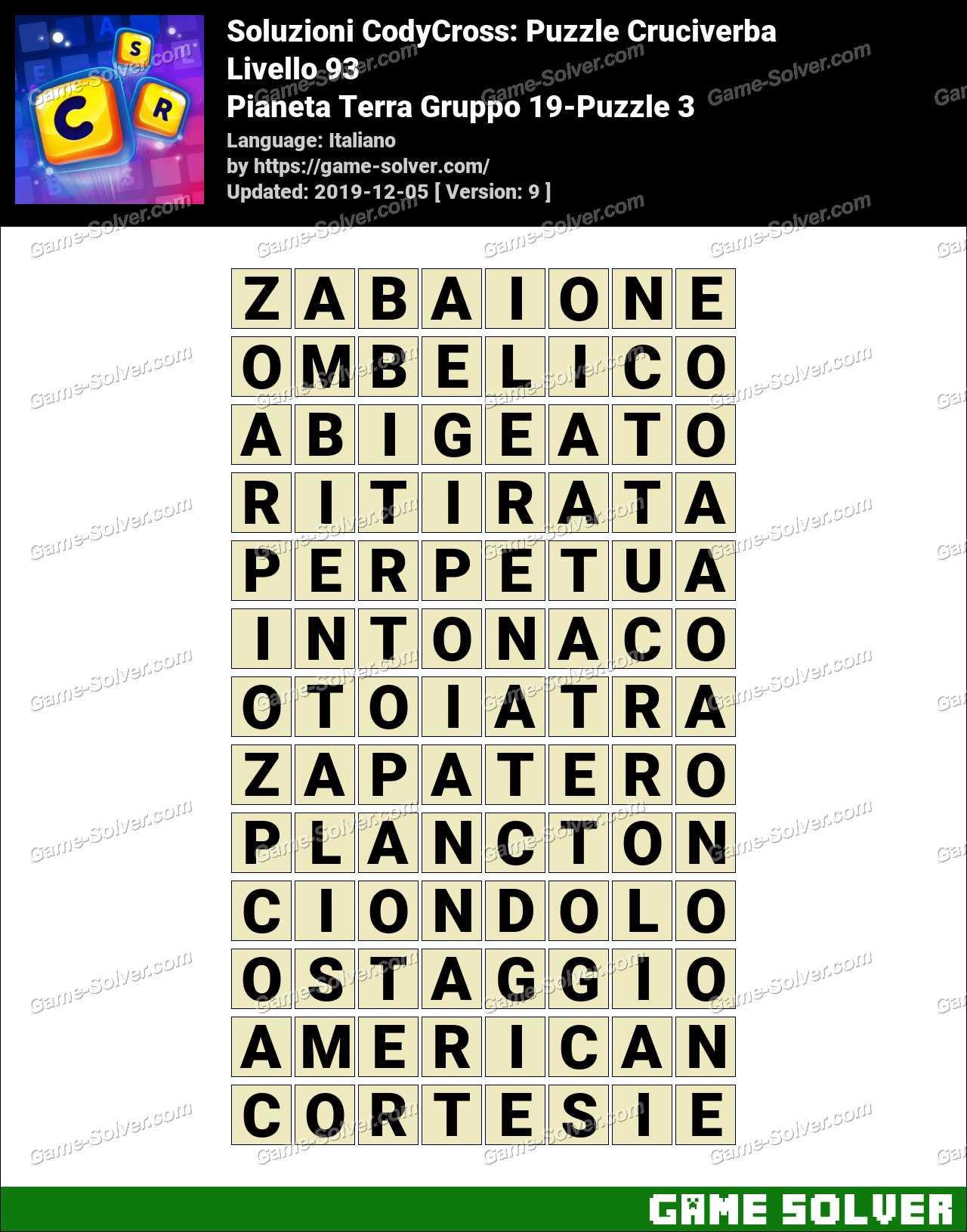 Soluzioni CodyCross Pianeta Terra Gruppo 19-Puzzle 3