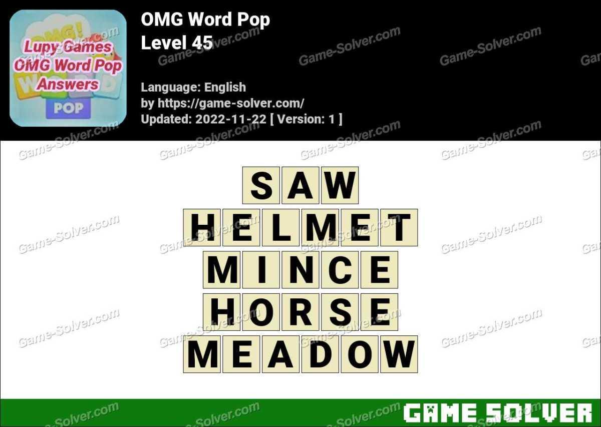 OMG Word Pop Level 45 Answers