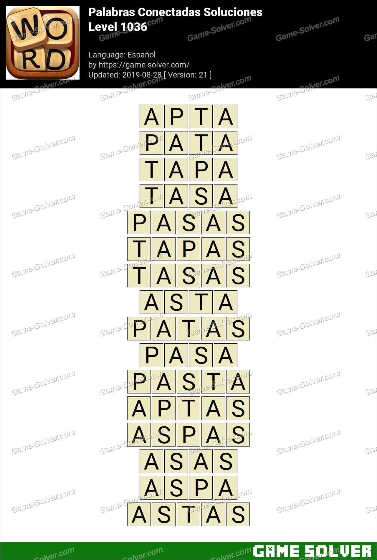 Palabras Conectadas Nivel 1036 Soluciones