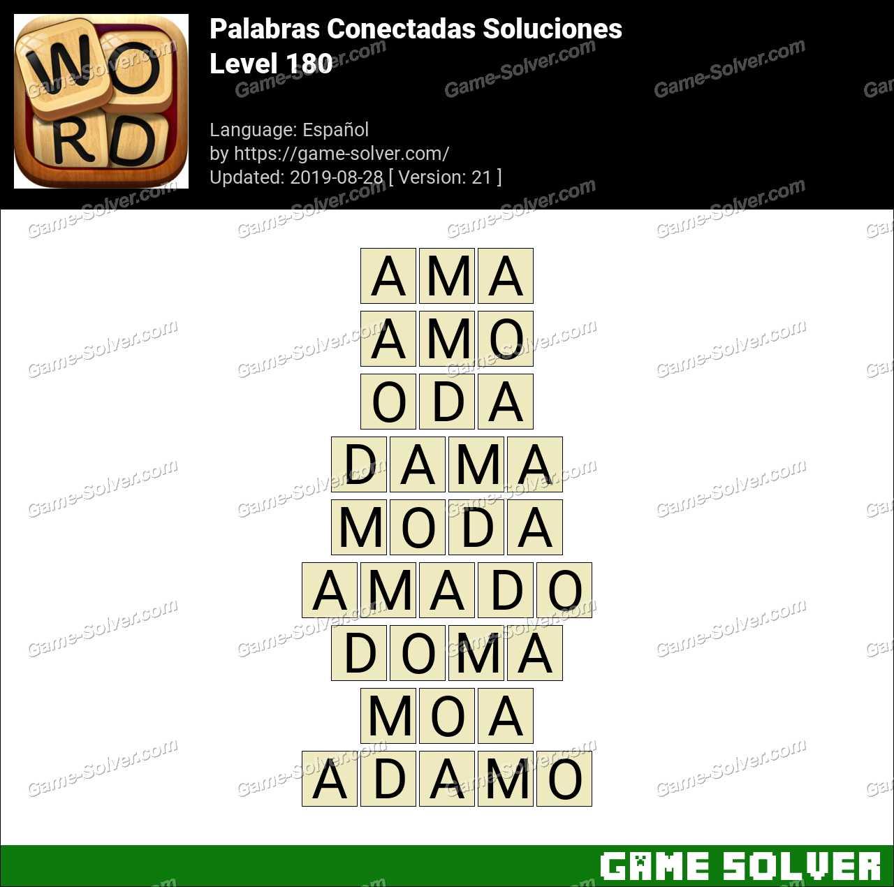 Palabras Conectadas Nivel 180 Soluciones